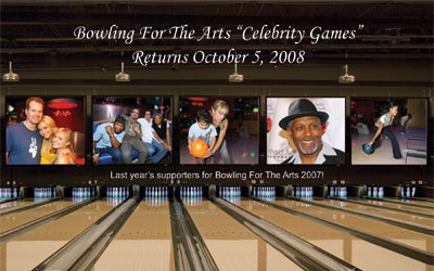 Bowling For The Arts Celebrity Games Postcard Flyer