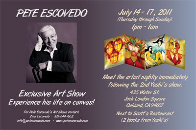 Pete Escovedo 76th Birthday Celebration Concert and Art Show Postcard Flyer
