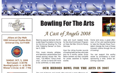 Bowling For The Arts Celebrity Games Newsletter